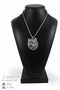 Cairn-Terrier-type-2-silver-plated-pendant-with-silver-cord-Art-Dog-IE