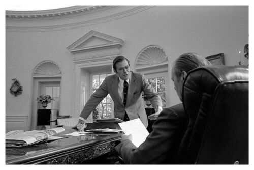 Gerald Ford With Donald Rumsfeld In The Oval Office 8 x 12 Silver Halide Photo