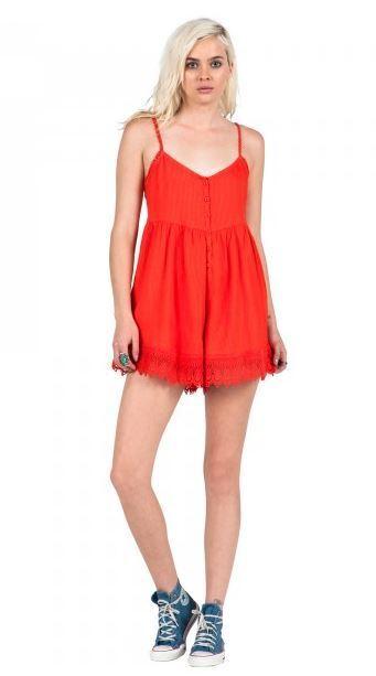 6cf0c3aa19a3 2016 Womens Volcom Pinned Romper S Fire Red Crochet Trim Hem Comfy Fit