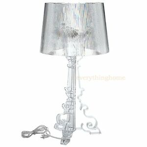 CLEAR-ACRYLIC-TABLE-LAMP-GRANDE-FRENCH-STYLE-28-034-TALL-OLD-WORLD-MODERN-BAROQUE