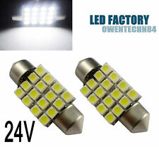 2X 36MM 6461 3425 16 SMD Car LED Interior Dome Festoon Light Bulb White  24V