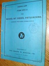 International Hough HF DIESEL PARTS MANUAL BOOK CATALOG WHEEL PAYLOADER GUIDE