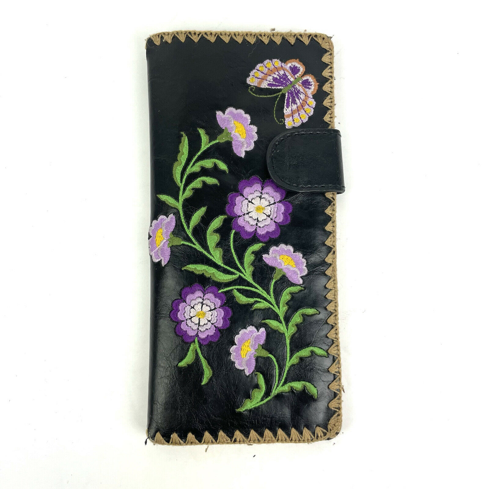 Lavishy Wallet Embroidered Floral Butterfly Black Faux Leather Clutch Organizer