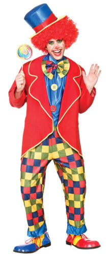 Adult CIRCUS CLOWN Crazy Big Top Bow Tie Party Fancy Dress Costume Mens Outfit