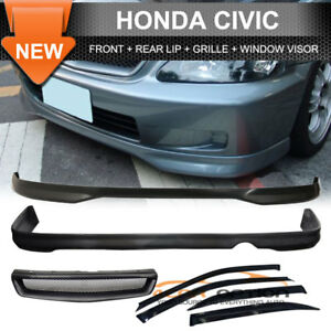 Fits-99-00-Civic-Front-Rear-Bumper-Lip-ABS-Front-Grill-Sun-Window-Visor
