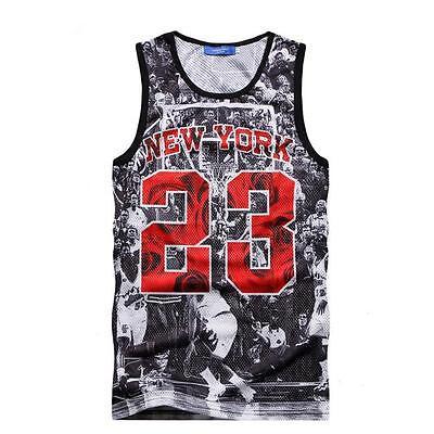 Men's Cool 3D Mesh Tank Tops 23 Basketball Vest Jersey Hiphop Printed T-shirt LG