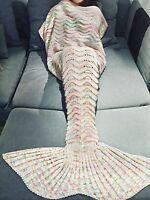Offwhitemermaid Tail Crochet Mermaid Blanket For Adult Summer Super Sleeping Bag