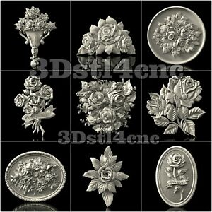 9-3D-STL-Models-Rose-Flowered-for-CNC-Router-Carving-Machine-Artcam-aspire