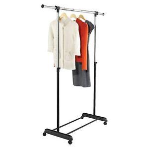 Adjustable-Garment-Rack-on-Rolling-Wheels-Single-Rail-Heavy-Duty-New
