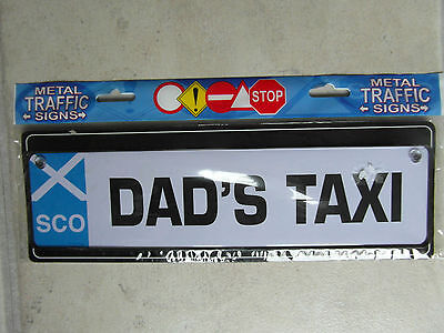 New /'DAD/'S TAXI/' SCOTLAND Number Plate Sign to hang in car GIFT for DAD