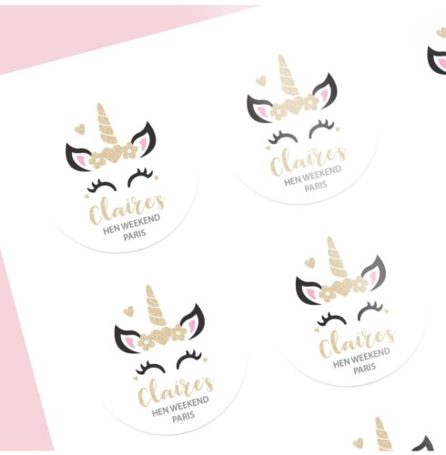 Unicorn Sparkle Squad Personalised Hen Party Stickers Pack of 12