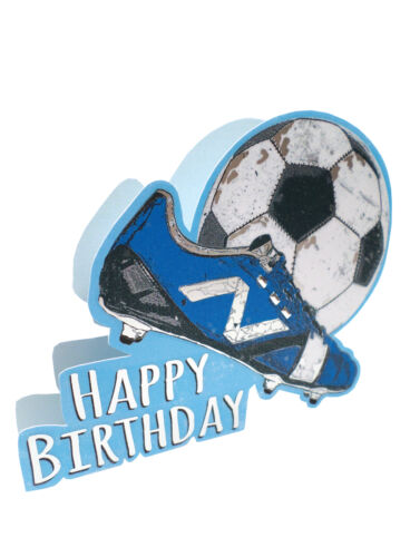 Football Happy Birthday 3D Paper Dazzle Birthday Greeting Card Glitter Finished
