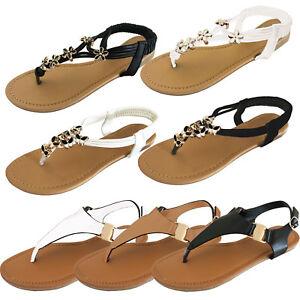 Senoras-Mujeres-Punta-Abierta-Sandalias-Verano-Flip-Flop-y-Correa-en-el-Tobillo-Zapatos-Planos-Nuevo