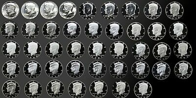 FULL COMPLETE SET OF PROOF KENNEDY HALFS 1964-2007 43 GEM PROOF//SMS COINS!