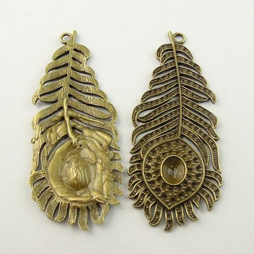 Lot of Antiqued Bronze Metal Alloy Peacock Feather Craft Pendant 80x33x2mm x6