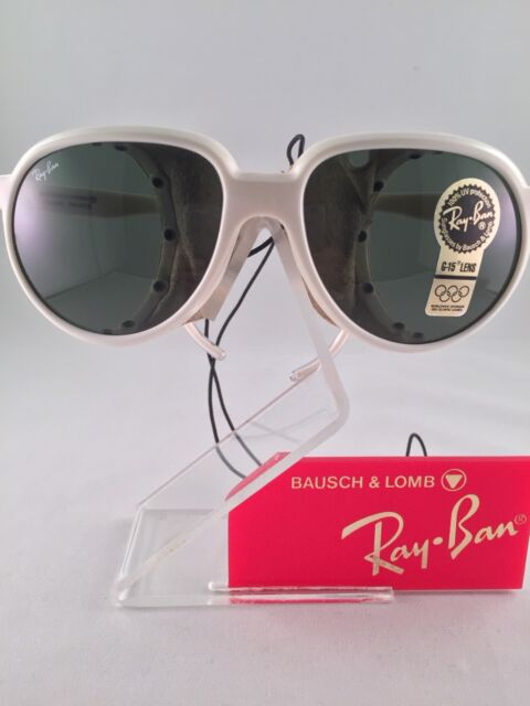 7c8c10e535 Vintage RAY-BAN CATS B L White Glacier Sunglasses With Leather Side Shields  NEW