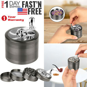 Herb-Grinder-Crusher-for-Tobacco-4-Piece-2-5-034-Zinc-Hand-Muller-Spice-Silver-4pc