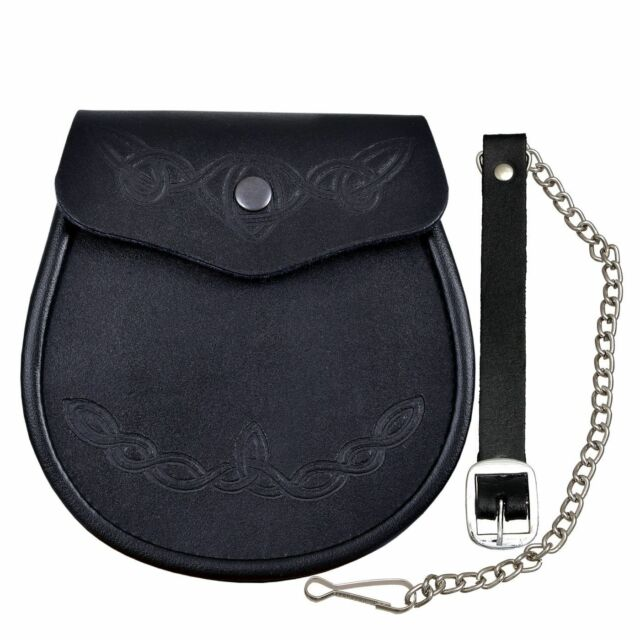 Embossed Leather Smooth Kilt Sporran With Celtic Pattern Chain Strap Cool Sporran Pattern