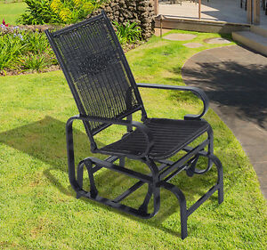 Rattan Wicker Patio Glider Rocking Chair Swing Outdoor