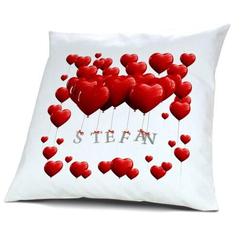Kopfkissen mit Namen Stefan Motiv Herzballons