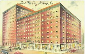 Hotel-Fort-Pitt-Pittsburgh-PA-Pennsylvania-Street-View-Cars-2-Rooms-Postcard
