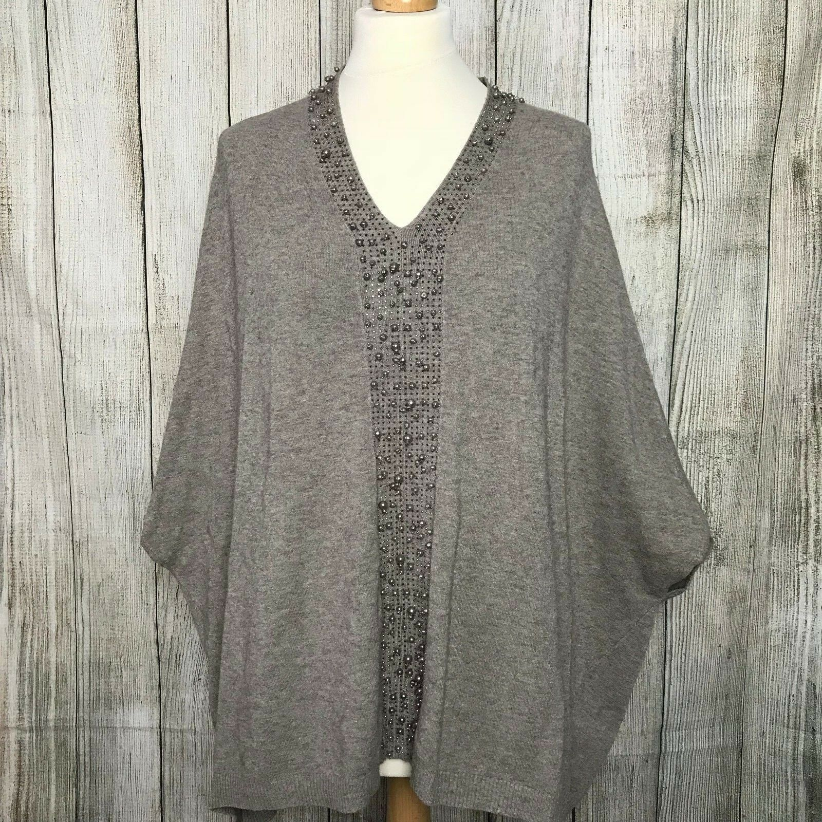 Beautiful Soft Grey Embellished Poncho Jumper Size L
