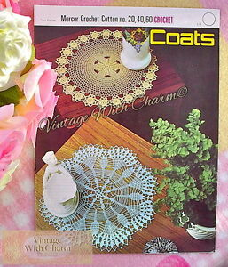 Vintage Crochet Pattern 2 Pretty Doilys Lotus Flower Floral