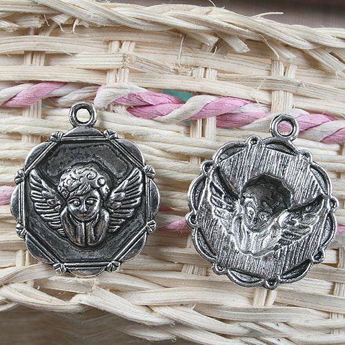 7pcs Tibetan Silver Color Round Angel Pendentif Charm G1135