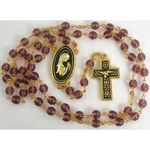 Damascene-Gold-Rosary-Cross-Virgin-Mary-Purple-Beads-by-Midas-of-Toledo-Spain