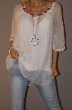 Sale Bluse Hemd Tunika Häkel Spitze Sterne Stars Batik Vintage Rosa 36 38 40