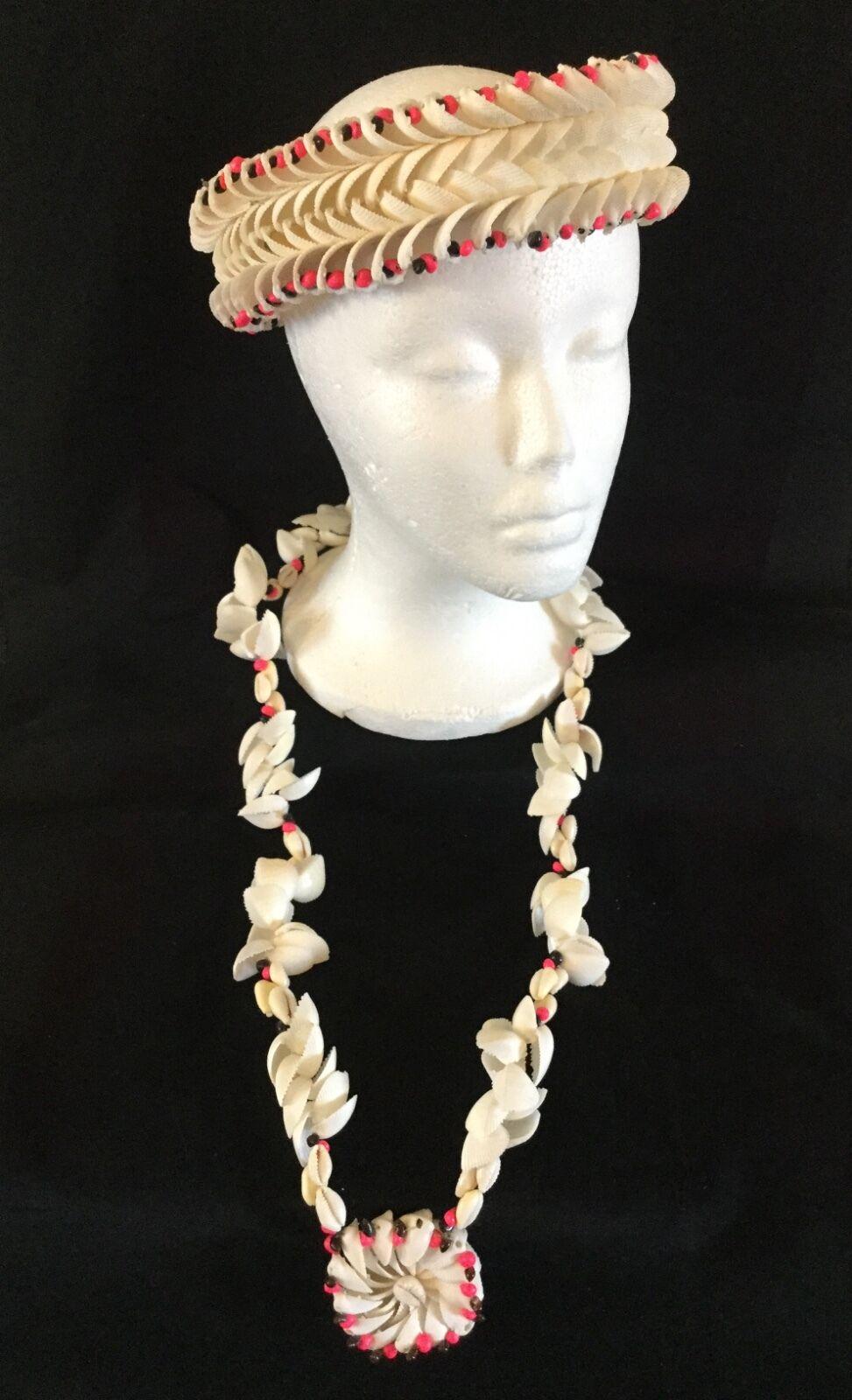 Vtg Seashell Bridal Wedding Set Crown Necklace 1960's Hawaiian Polynesian 3Pc.