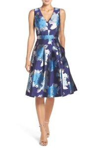 Nwt Eliza J Metallic Jacquard Fit Amp Flare Dress 4 Blue