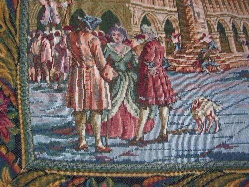 Handmade in Burano Italian Handwoven Wall Tapestry of Piazza San Marco Italy