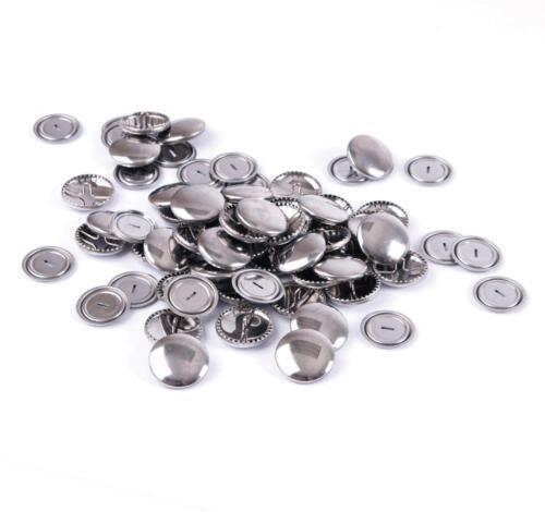 100 Bulk Hemline Non Sew Self Cover Metal Top Buttons Fabric Garments 19 mm