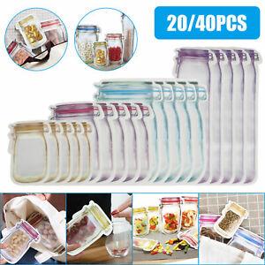 20Pcs/Set Reusable Mason Jar Bottles Zipper Snack Bags Seal Food Saver Storage