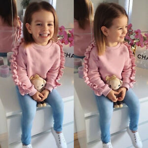 AU-2PCS-Toddler-Kids-Baby-Girls-Ruffle-Tops-Denim-Pants-Winter-Outfits-Clothes