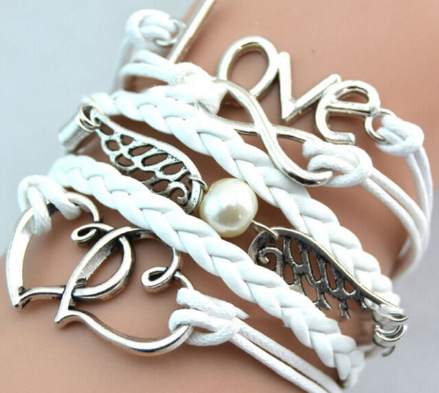 New Trendy Jewelry fashion Leather Cute Infinity Charm Bracelet Silver Charm