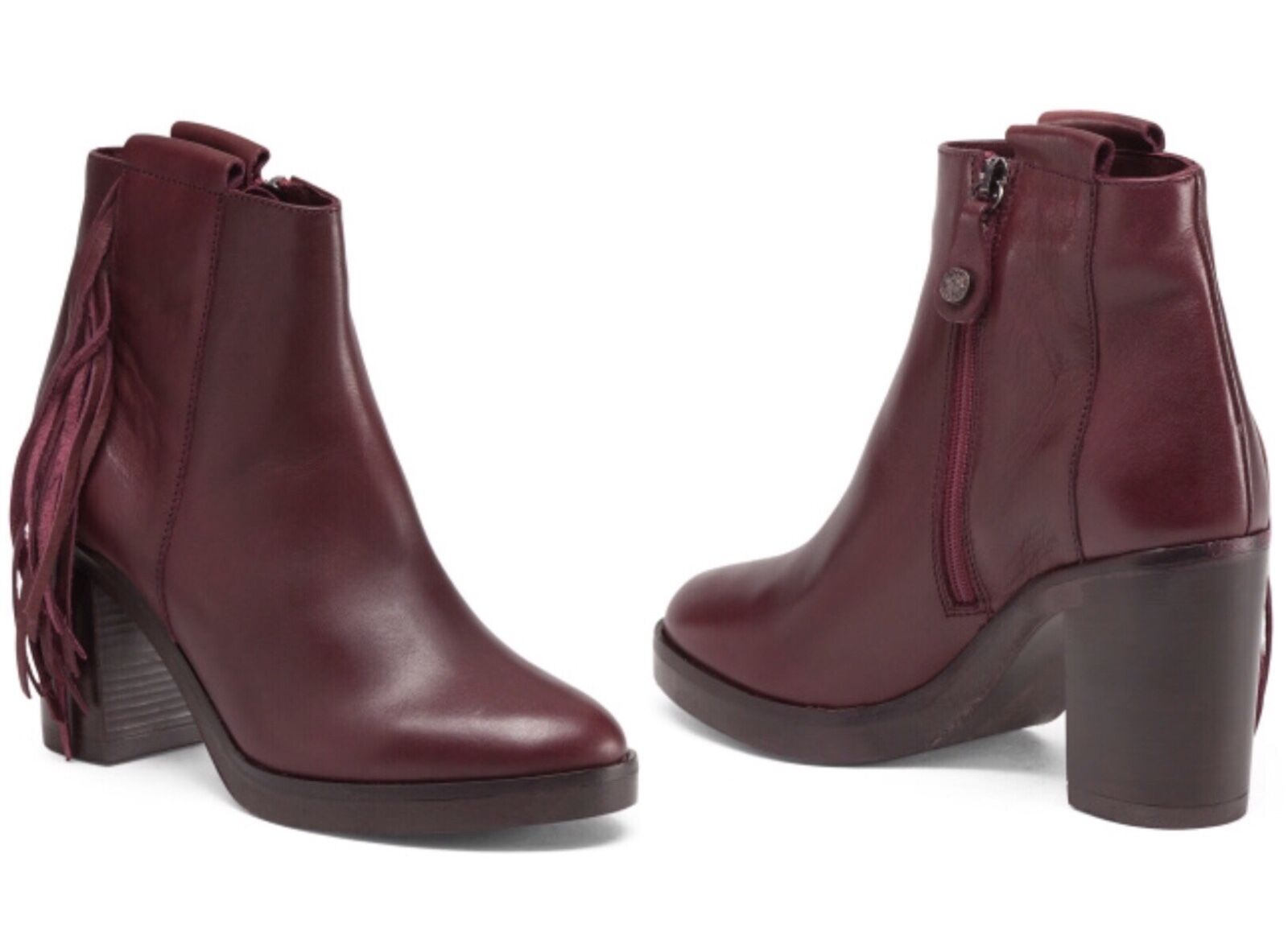 FABIANELLI Made In  Fringed Leder Stiefel Booties ITALIANSHOE MAKER BNIB
