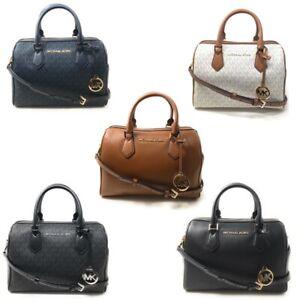 Michael Kors Bedford Large Duffle Satchel Handbag Purse Crossbody Leather