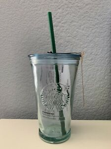 New Starbucks Coffee Recycled Glass Tumbler/Cup with Lid ...