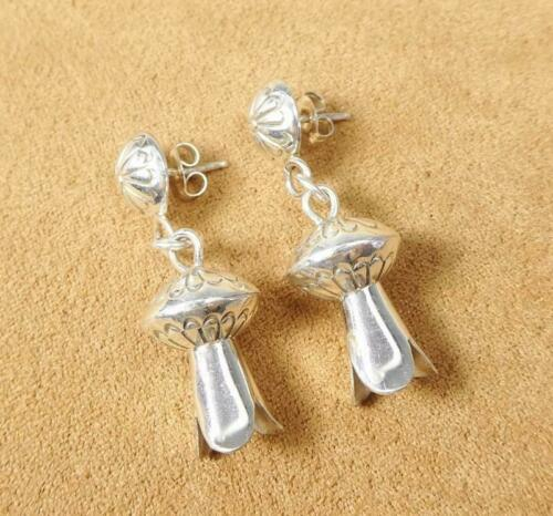 Native American Sterling Silver Stamped Concho Top Squash Blossom Drop Earrings