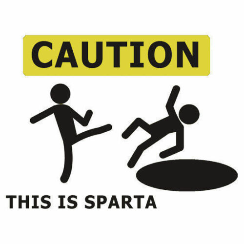 """PLAQUE /"""" FUNNY CAUTION THIS IS SPARTA /"""" METAL SIGN"""