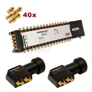 SAT Verteiler PXMS 9/32 Multiswitch Multischalter mit 2xLNB Quattro 0,1dB HD/