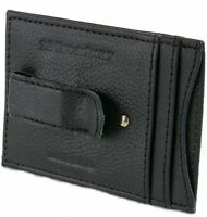 22 Broadway Men's Leather Money Clip with Card Slots in Black