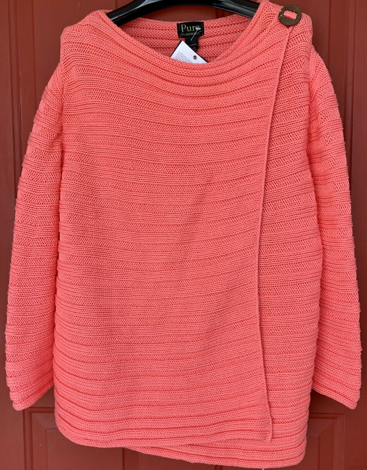 NEW NWT Pure Handknit Summer Crush Hanky Panky Coral Cardigan Sweater Size L