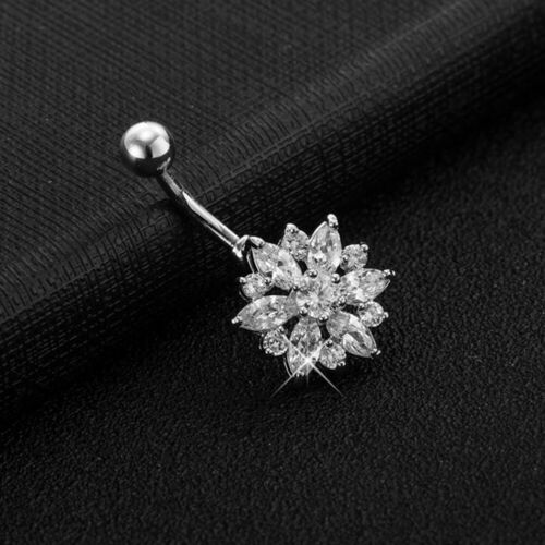 Details about  /Stylish Navel Belly Ring Rhinestone Button Bar Barbell Body Piercing Jewelry