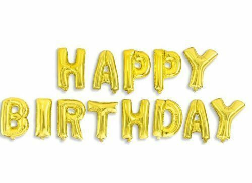 Happy Birthday Balloon Banner  16/' Large 13pc Foil Letters Party Decoration
