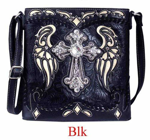 Western Concho Equestrian Concealed Carry Crossbody Handbag Shoulder Purse
