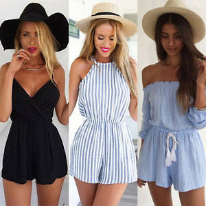Womens-Casual-Jumpsuit-Mini-Playsuit-Summer-Beach-Shorts-Romper-Holiday-Sundress