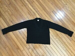 ARMANI-COLLEZIONI-Black-Wool-Cable-Knit-V-Neck-Long-Sleeve-Sweater-Size-12